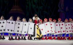 Rainha dos corações e dos soldados do cartão Fotos de Stock