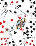 Rainha dos corações - fundo dos cartões de jogo Fotografia de Stock Royalty Free