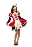 Rainha dos corações Jovem senhora criativa no preto e Imagens de Stock