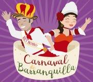 Rainha e rei do carnaval com a proclamação real, ilustração do ` s de Barranquilla do vetor Imagem de Stock Royalty Free