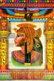 Rainha egípcia Cleopatra do papiro, uma mulher famosa da antiguidade Cleopatra teve a atenção de dois grandes generais romanos Ju fotos de stock royalty free