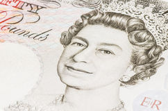 Rainha elizabeth em umas 50 libras Fotos de Stock Royalty Free