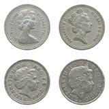 Rainha Elizabeth II em uma moeda de libra Fotografia de Stock Royalty Free