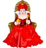 Rainha irritada no trono Imagens de Stock Royalty Free