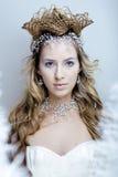 A rainha nova da neve da beleza com a coroa do cabelo em sua cabeça, complica o penteado, conceito do inverno fotografia de stock
