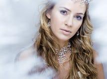 Rainha nova da neve da beleza em flashes feericamente com cabelo Imagem de Stock Royalty Free