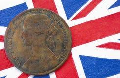 Rainha Victoria uma bandeira de Ingleses da moeda de um centavo Fotografia de Stock Royalty Free