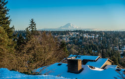 Rainier From Burien 2. A veiw of Mount Rainier in January from Burien, Washington stock photography