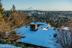 Rainier From Burien 5. A veiw of Mount Rainier in January from Burien, Washington stock photography