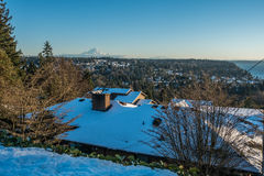 Rainier From Burien 6. A veiw of Mount Rainier in January from Burien, Washington royalty free stock photo