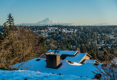 Rainier From Burien. A view of Mount Rainier in January from Burien, Washington stock photos