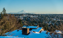 Rainier From Burien 3. A view of Mount Rainier in January from Burien, Washington stock images
