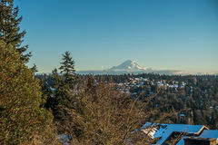 Rainier From Burien 7. A view of Mount Rainier in January from Burien, Washington royalty free stock images
