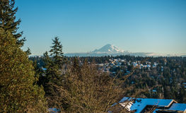 Rainier From Burien 8. A view of Mount Rainier in January from Burien, Washington stock photography