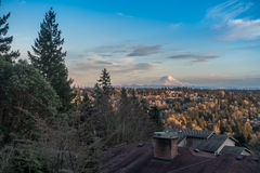 Rainier From Burien. A view of Mount Rainier from Burien, Washington royalty free stock images