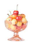 Rainier Cherries In Glass Dish Isolated Royalty Free Stock Photos
