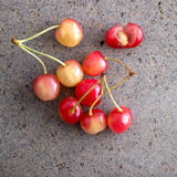 Rainier cherries. On old  table, close up Stock Photo