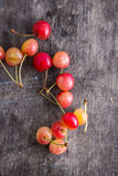 Rainier cherries. On old wooden table, close up Royalty Free Stock Photo