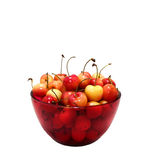 Rainier Cherries In A Red Bowl. Isolated on a white background Stock Photos