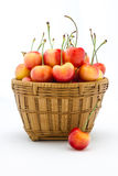 Rainier cherries in a wooden basket Stock Photography