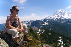 Rainier hiking Royalty Free Stock Photos