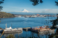 Rainier and Port Panoramic 2 Stock Photo