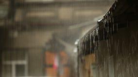 raining Оно ударяет крышу Вода стекает Ливень в городе сток-видео