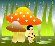 Raining. Vector illustration for a baby bee hide under a mushroom for raining day Royalty Free Stock Images