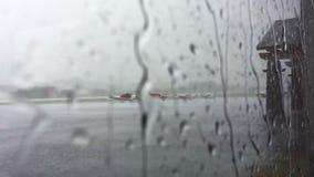 Raining at airport stock footage