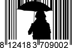 Raining barcode. Umbrella and heavy raining barcode Royalty Free Stock Image