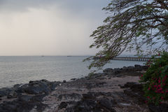 Raining on the beach of Yong Star in Palian, Trang Stock Images