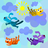 Raining cats and dogs. A group composed of cartoon dogs and cats falling from the sky Royalty Free Stock Images