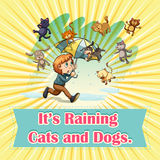 Raining cats and dogs. Illustration Stock Photography