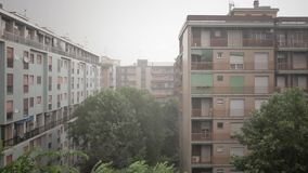 Raining on the city stock video footage