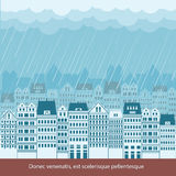 Raining in Cityscape background illustration for t Stock Photos