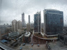 Raining in Cityscape Royalty Free Stock Images