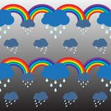 Raining cloud and double rainbow pattern background Royalty Free Stock Photos
