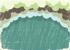 Raining clouds on old paper texture.Vintage back Stock Photography