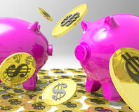Raining Coins On Piggybanks Shows American Profit Stock Photos
