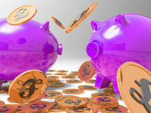 Raining Coins On Piggybanks Shows Richness Royalty Free Stock Photo