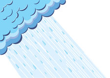 Raining dark blue clouds. Illustration of raining cloud.Vector blue sky Stock Photography