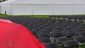 Raining. Empty seats Stock Images