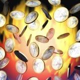 Raining Euros. Digital Illustration of raining Euros Stock Photography