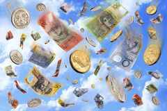 Raining Falling Australian Money Dollars Stock Photography