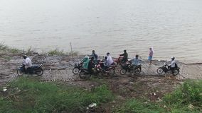 Raining, ferry boat , mekong,cambodia,southeast asia stock video footage