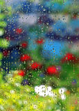 Raining in garden Royalty Free Stock Photos