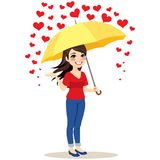 Raining Hearts Umbrella. Beautiful young woman with yellow umbrella stopping raining hearts love concept Stock Photos