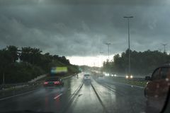 Raining on the highway. Scenery raining on the highway Royalty Free Stock Photography