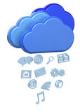 Raining Icons from Cloud Concept - 3D Stock Photos