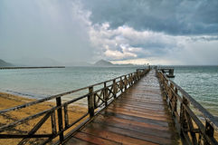 Raining when leaving Komodo island Stock Photo